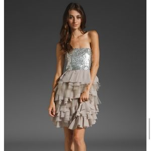 Alice + Olivia Mei Sequin and Silk Cocktail Dress